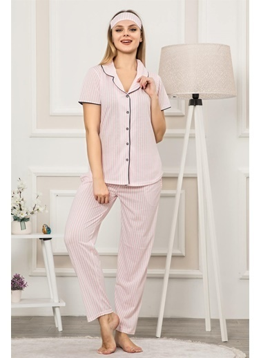 Akbeniz Kadın Pmbe Beyaz Renk Pamuklu Cepli Kısa Kol Pijama Takım 2535 Pembe